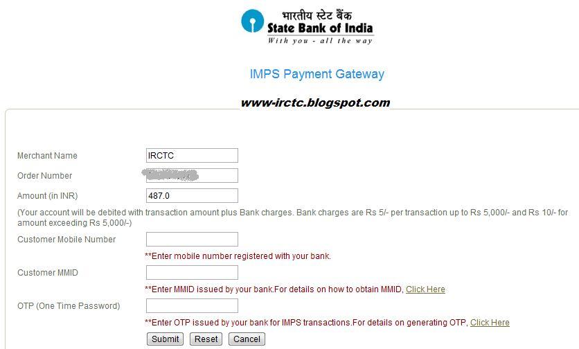 IRCTC Inter Bank Mobile Payment :: SBI