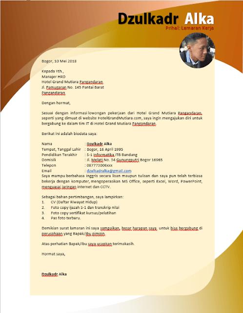 Contoh Surat Lamaran Kerja yang kreatif
