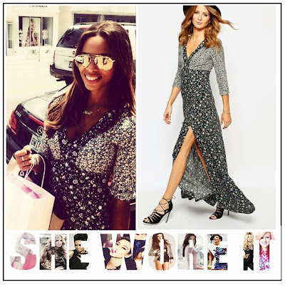 3/4 Sleeve, Black, Blue, By Millie Mackintosh, Contrast, Deep V Neckline, Dress, Floral Print, Front Split, Grey, Maxi Dress, Mixed Print, Rochelle Humes, The Saturdays, White,