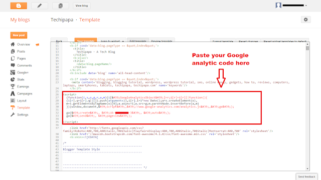 add google analytic to blogger 3