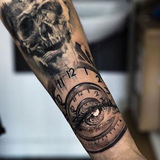 tato lengan gambar jam keren
