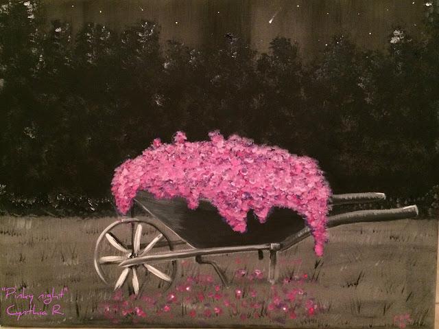 carretillo lleno de flores rosadas, flores rosadas en una noche estrelladda, carretillo floreado, pintura acrílica en canvas, acrylic painting on canvas