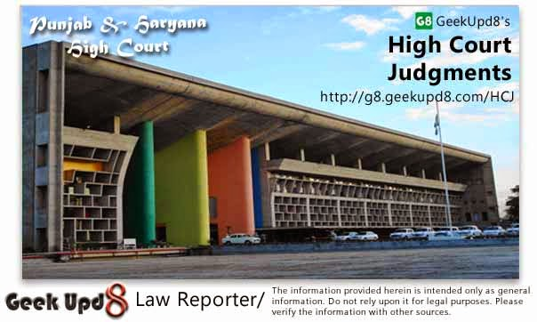 Punjab and Haryana High Court, Chandigarh Judgments
