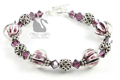Amethyst Crystal Bali Lampwork Beaded Bracelet (B106) by Crystal Allure