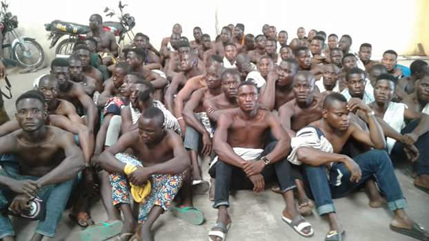 Photos: 76 miscreants and hoodlums including a notorious cult leader arrested in midnight raid in Lagos