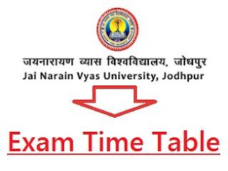 JNVU Jodhpur Time Table 2019