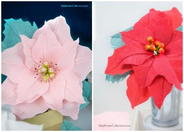 flor pascua, flor poinsettia, manualidades, flor papel crepé