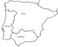Map of Spain showing Andalucia