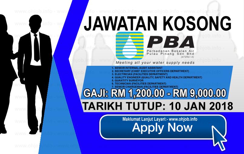Jawatan Kerja Kosong Perbadanan Bekalan Air Pulau Pinang - PBA logo www.ohjob.info januari 2018