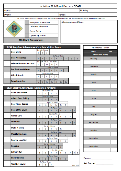 Original cub scout bear printable record tracking and organization work sheet for the new program free with adventures cyber chip award also akela   council leader training rh akelascouncilspot