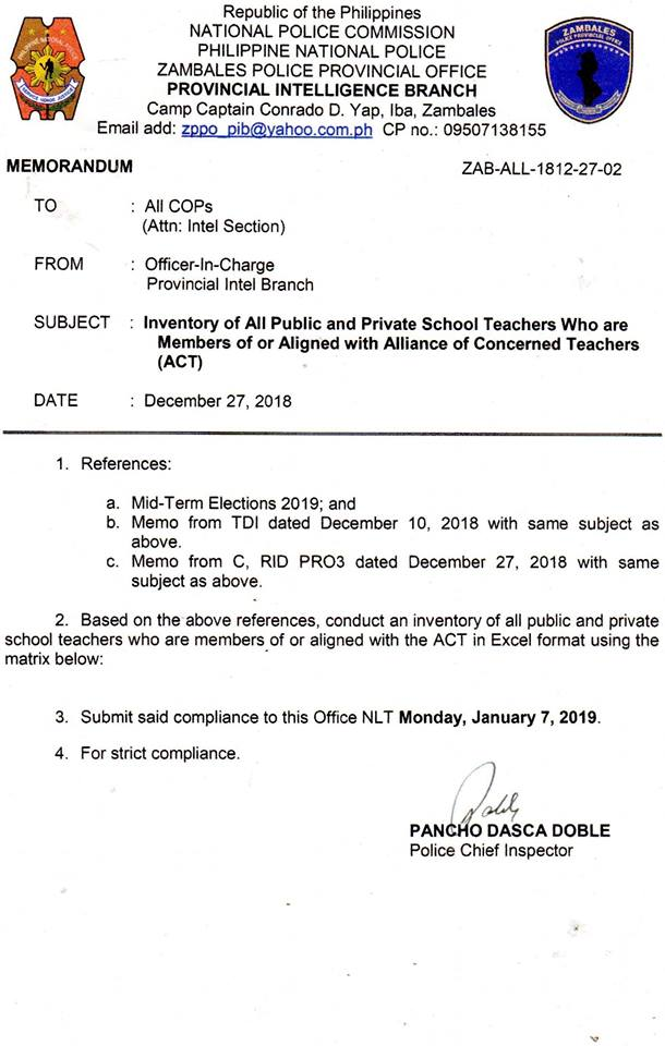 ACT showed the memorandum order carried by the PNP during visits to schools