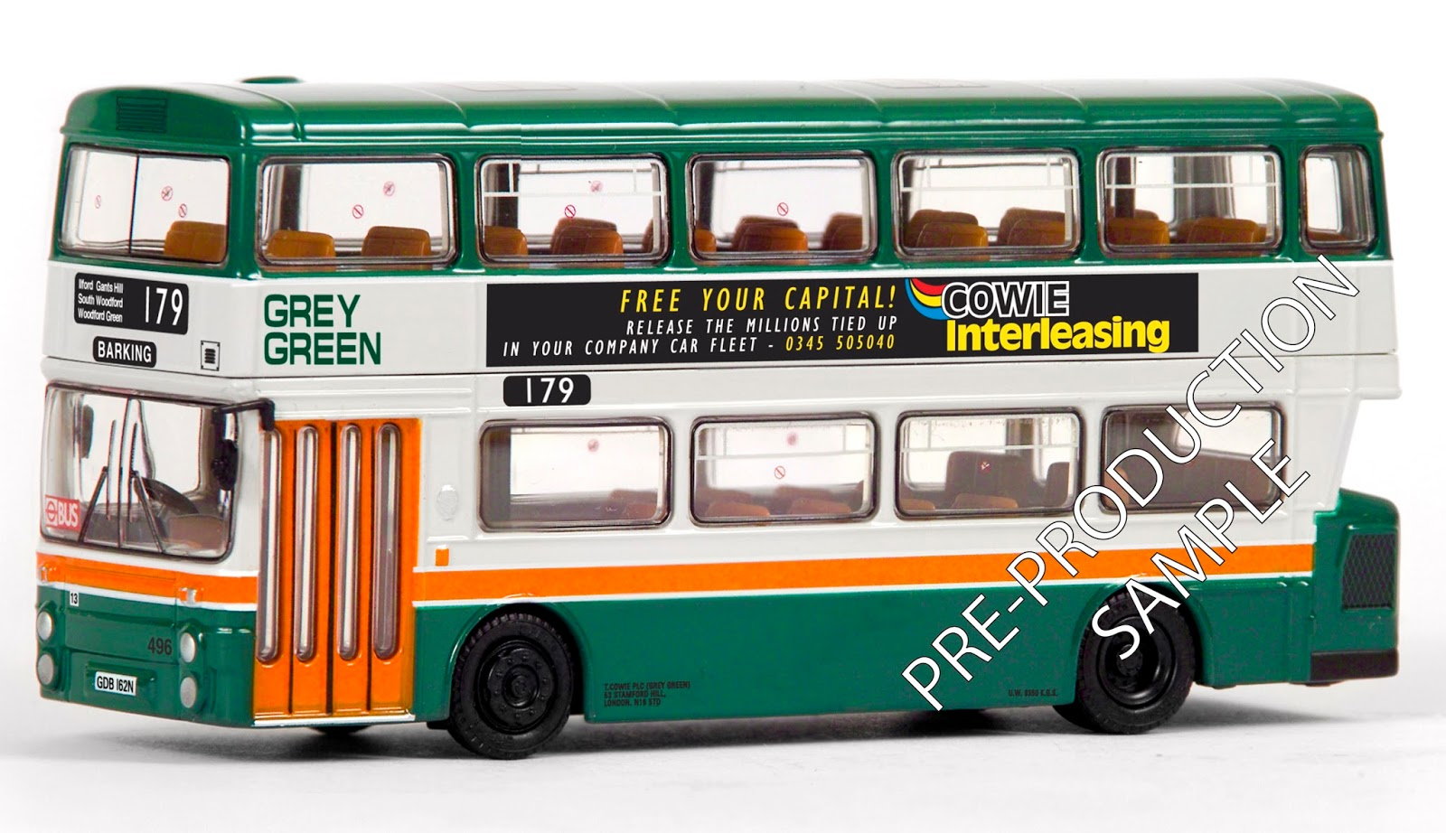 EFE PRE-PRO SAMPLE 29012 - GM Standard Fleetline - Grey Green Registration number GDB 162N, fleet number 496. Works route 179 to Barking. Scheduled for a February release