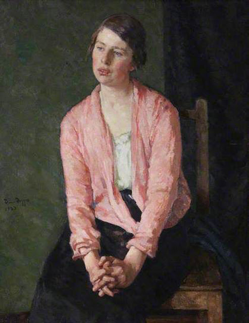 Self Portrait, David Foggie,Woman with Clasped Hands, Scottish Painter, International Art Gallery, Portrait Fine arts