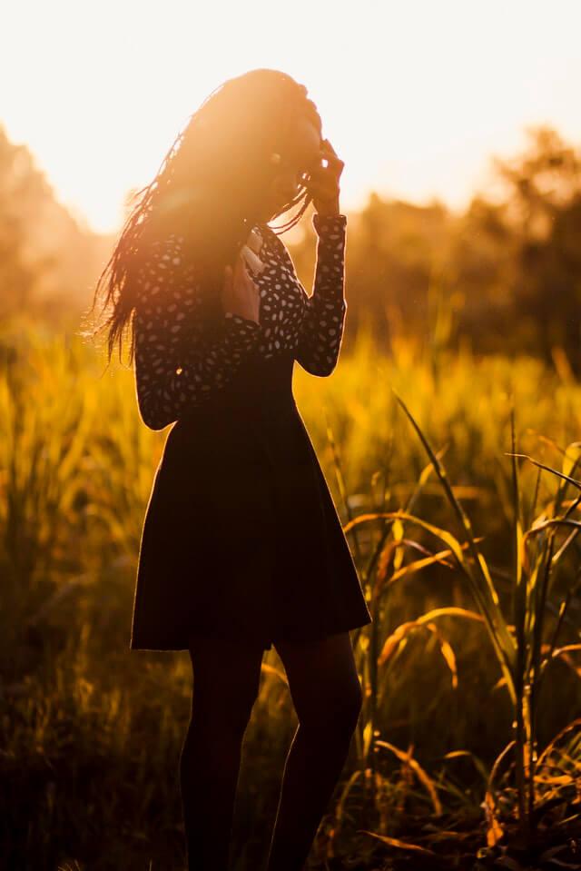 Woman Wearing Black Dress During Sunset HD Copyright Free Image