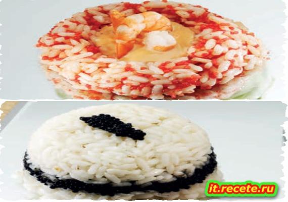Timballini di riso al caviale e anello di riso alle uova di lompo