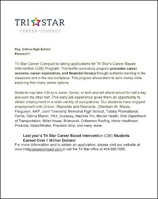 Letter promoting Celina Tri Star CBI