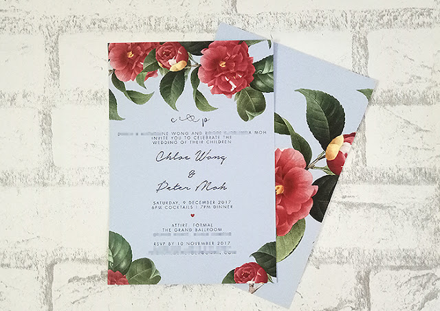 Red & Blue Floral Wedding Card Printing