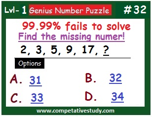 Number Puzzle: Find the missing number: 2, 3, 5, 9, 17, ?