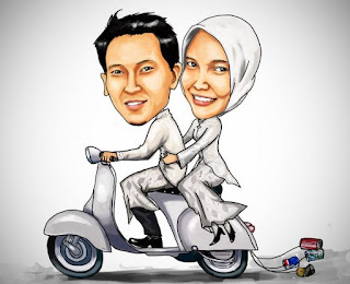 Gambar Kartun Wedding Naik Vespa Prewedding Islami Muslimah