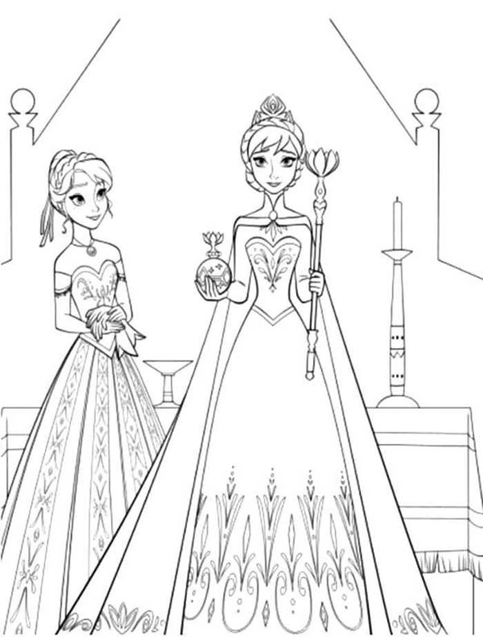 Tranh tô màu công chúa Elsa và Anna