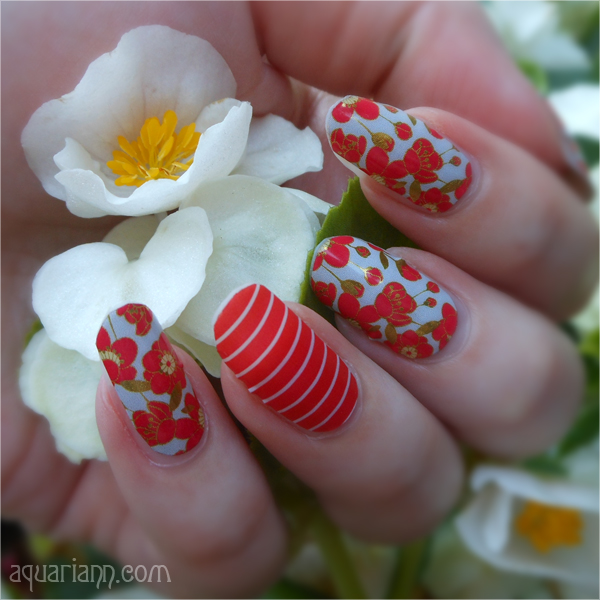 White and Red Flower Nail Art