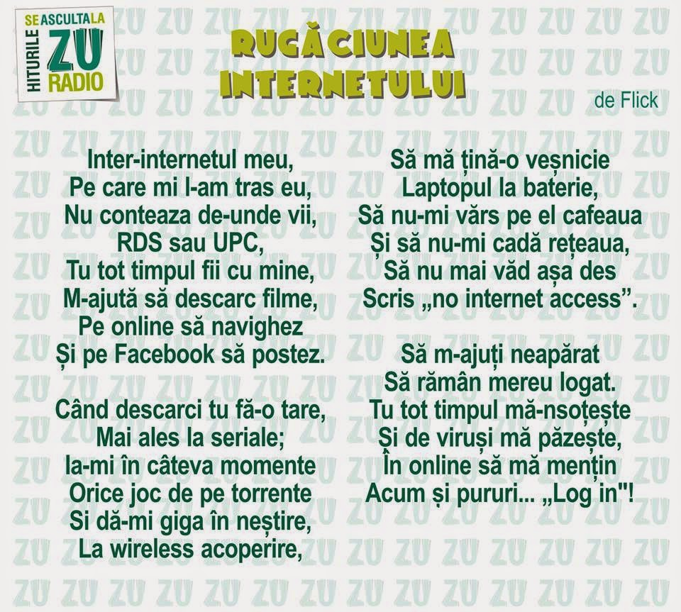 Rugaciunea Internetului poezie de Flick Radio ZU 29.10.2014 parodie versuri amuzante miercuri octombrie ZIUA MONDIALA A INTERNETULUI Internationala Flick Internet Radio ZU poezie haioase amuzanta parodie Flick ZU International Internet Day