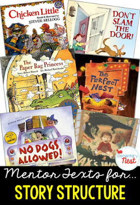 Primary mentor text suggested book list for Story Structure- teaching the beginning, middle, and end of a story- RL2.5, RL3.5