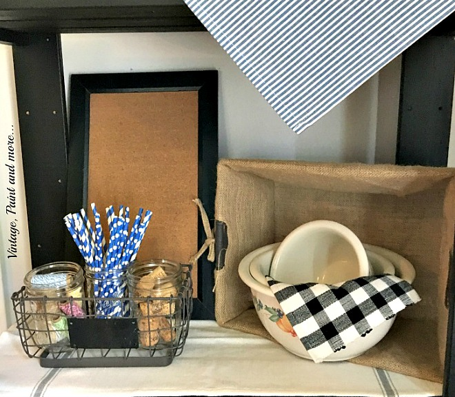 Vintage, Paint and more... farmhouse bowls, wire baskets, and a corkboard make a kitchen vignette for every season