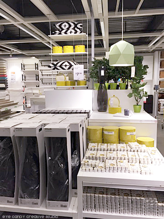 black & white decor, candles, vase, storage boxes, organization ideas at IKEA