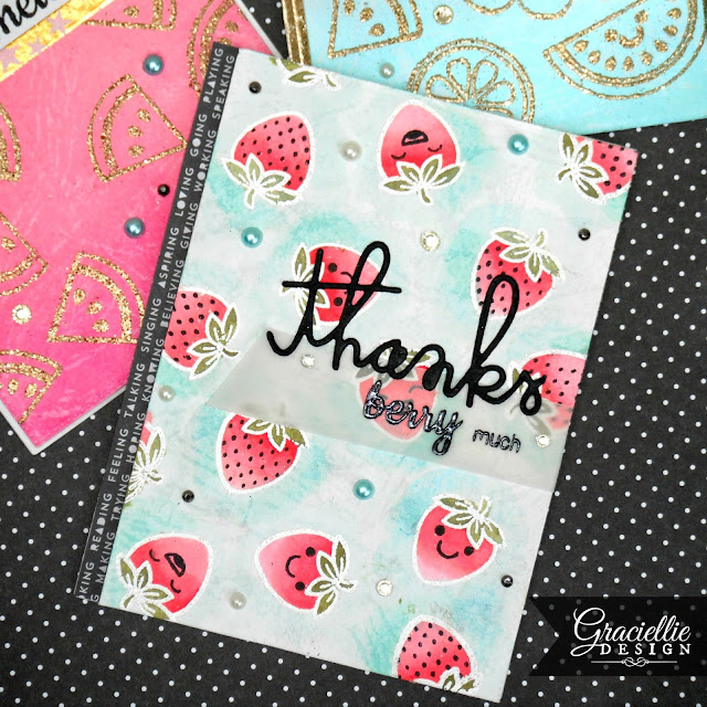 Sunny Studio Stamps Fresh & Fruity Strawberry Card by Graciellie Design