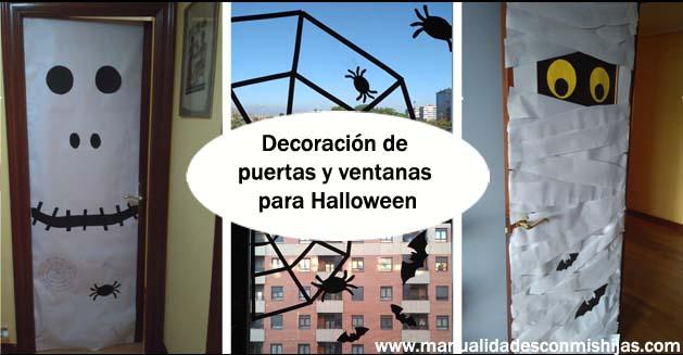 Manualidades con mis hijas decoramos la casa para halloween for Decoracion para puertas halloween
