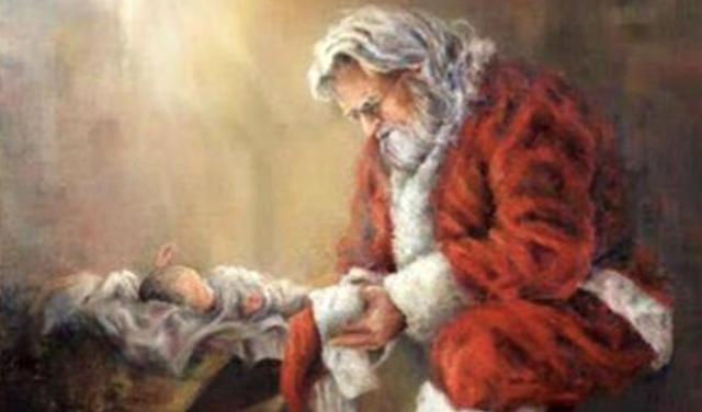 Santa kneeling before Jesus 'too violent' for Facebook
