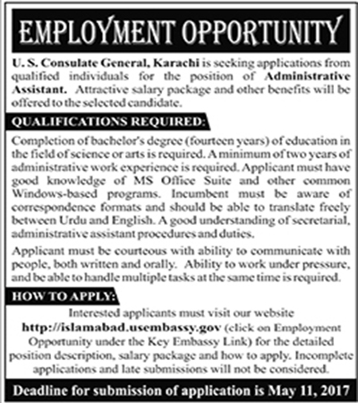 Us Embassy consulate general karachi Administrative jobs 30 april 2017