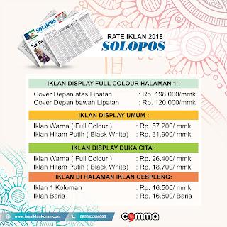 Tarif pasang Iklan koran Solopos 2018
