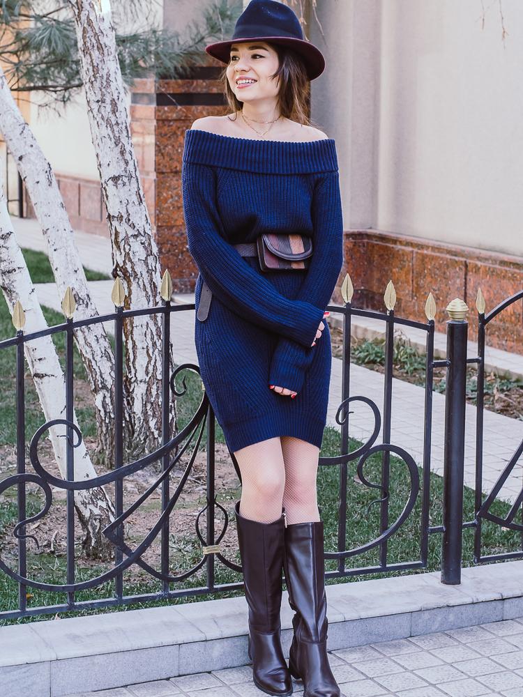 fashion blogger diyorasnotes knitted dress shein maxi coat