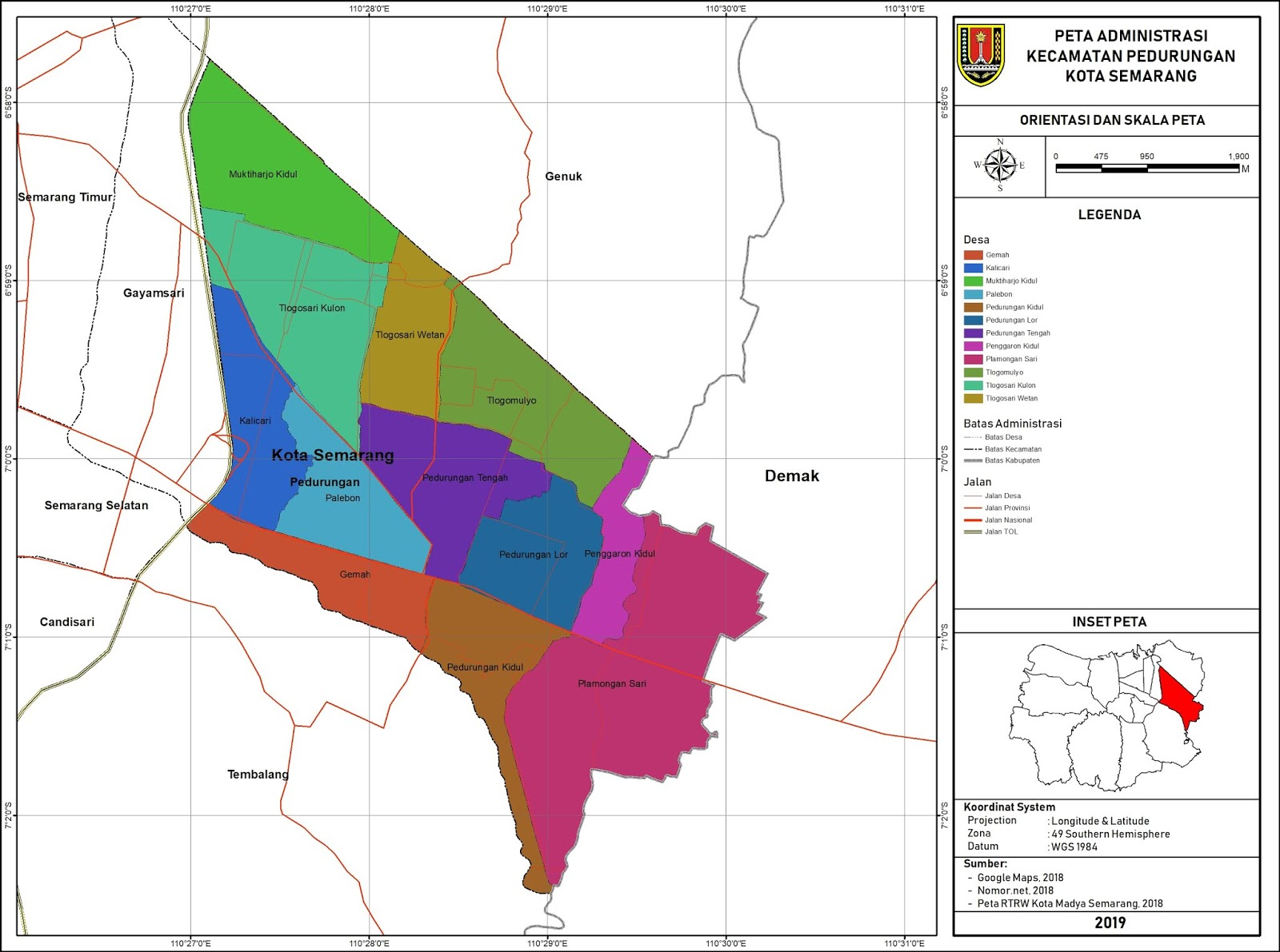 Peta Administrasi Kecamatan Pedurungan, Kota Semarang ...