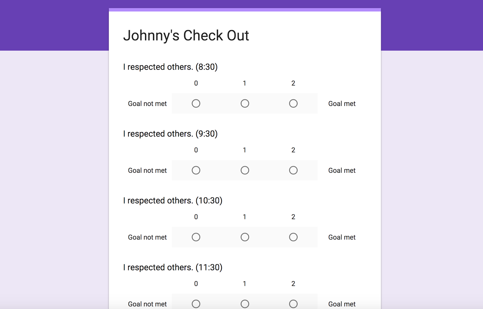 check in check out form