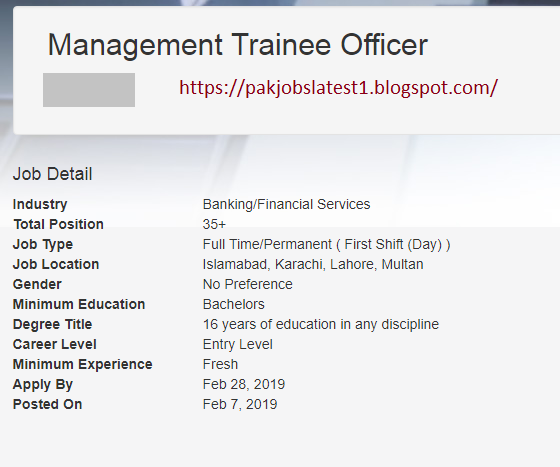 Latest Job In Faysal Bank 2019 For The Post Of Management Trainee Officer | 35 Positions