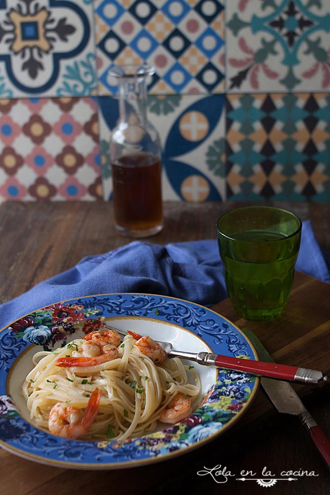 Lola en la cocina tallarines con gambas guindilla y lim n - Platos de pasta sencillos ...