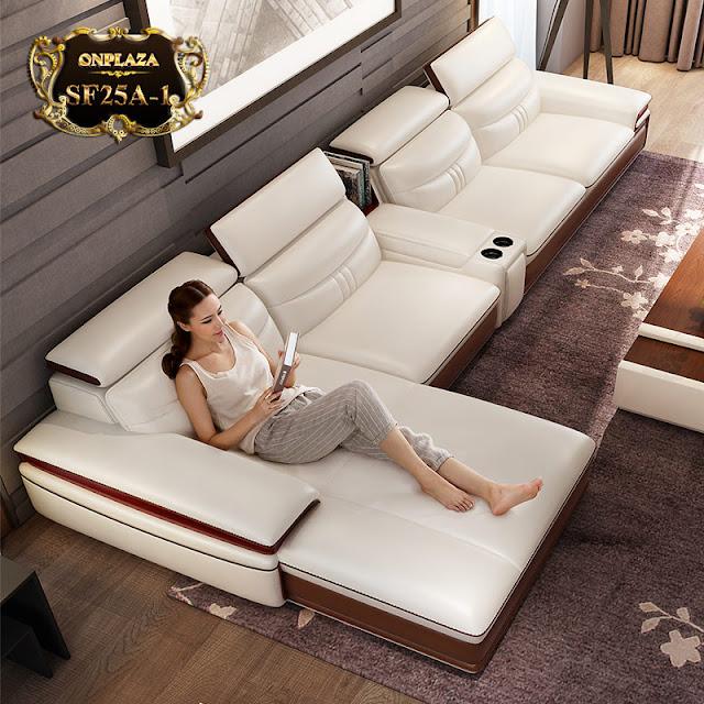 Mẫu sofa da đa năng phong cách châu âu sang trọng SF25