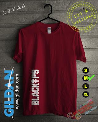 Baju Kaos DISTRO BlackOps Warna Merah Maroon