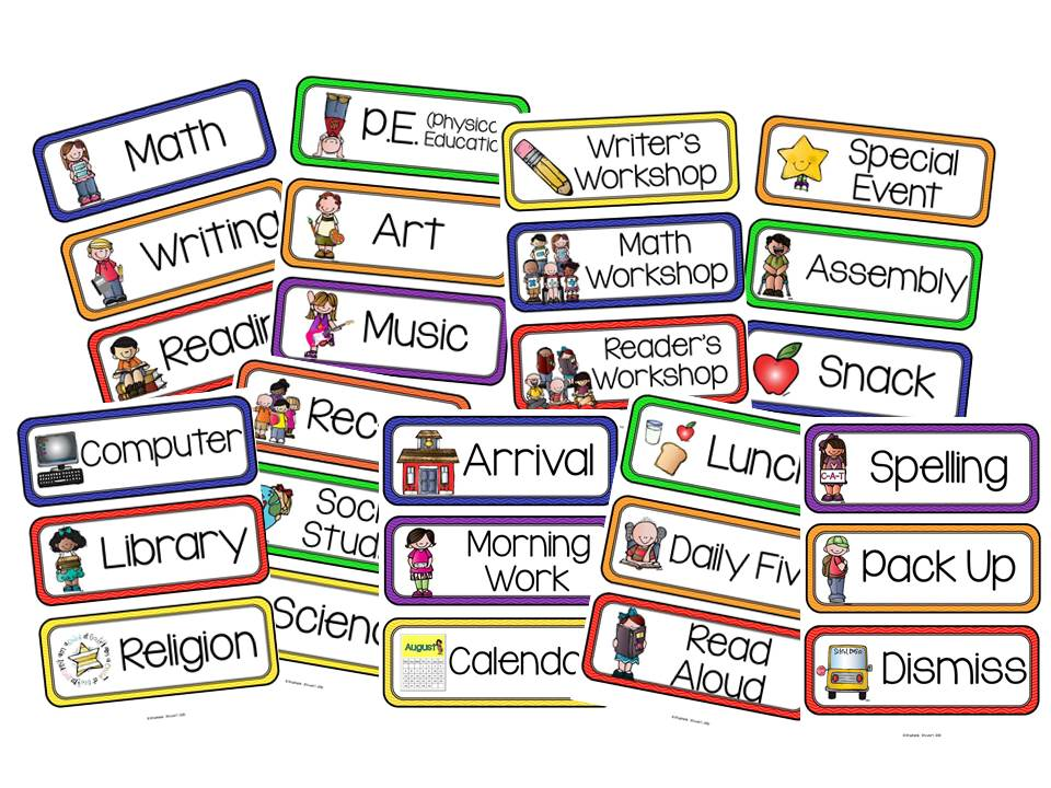 School Subject Labels Printable