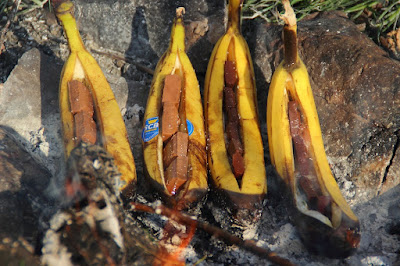 Banana Boat Cooked on the campfire