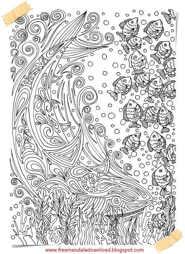 Fisch Mandala Adult Färbung-Fish mandala Adult coloring | Free ...