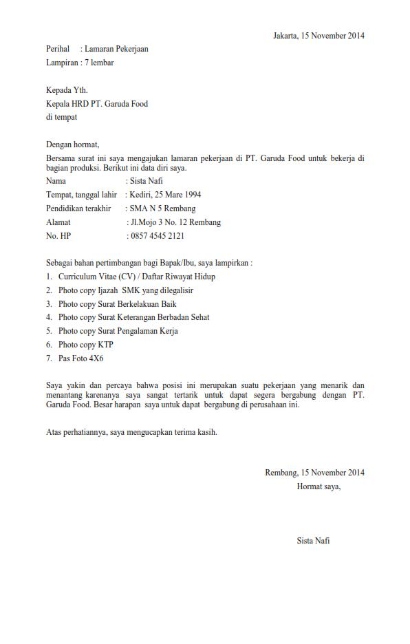 Cara Membuat Surat Lamaran Kerja Di Garment Susan Jobs