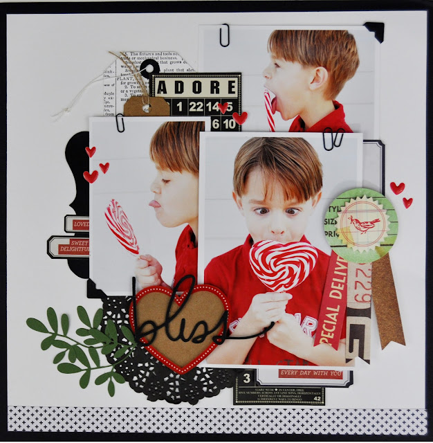 """Bliss"" Valentine's Day scrapbooking layout by Jen Gallacher for Scrapbook & Cards Today Magazine. #scrapbooking #valentinesday #valentinephoto #jengallacher"