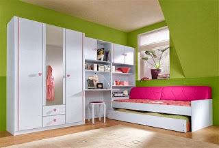 Habitación juvenil rosa verde