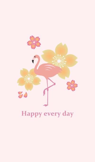 Cherry blossoms and flamingo