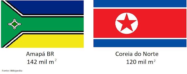 www.fertilmente.com.br - Comparação do territorio da Coreia do Norte com o estado do Amapá