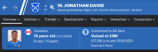FM20 Wonderkid - Jonathan David
